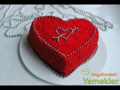 Kırmızı Kalpli  Kadife Pasta ( Red Velvet Cake )