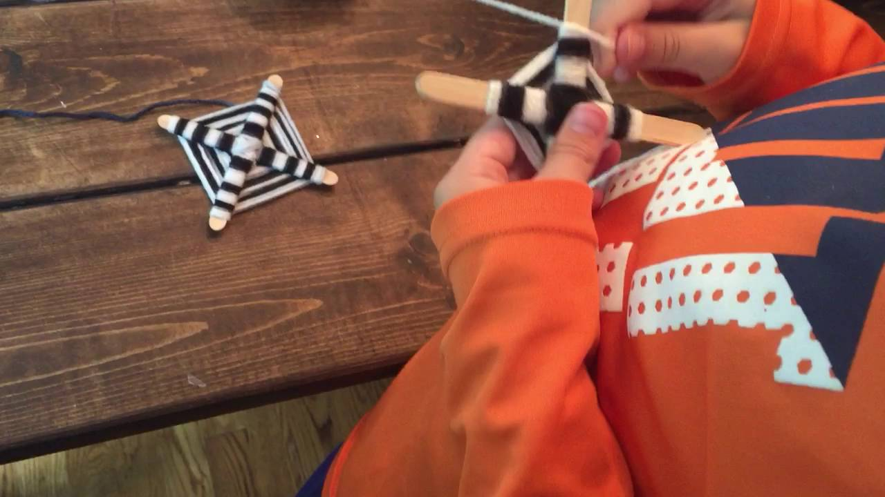 Popsicle Stick And Yarn Craft