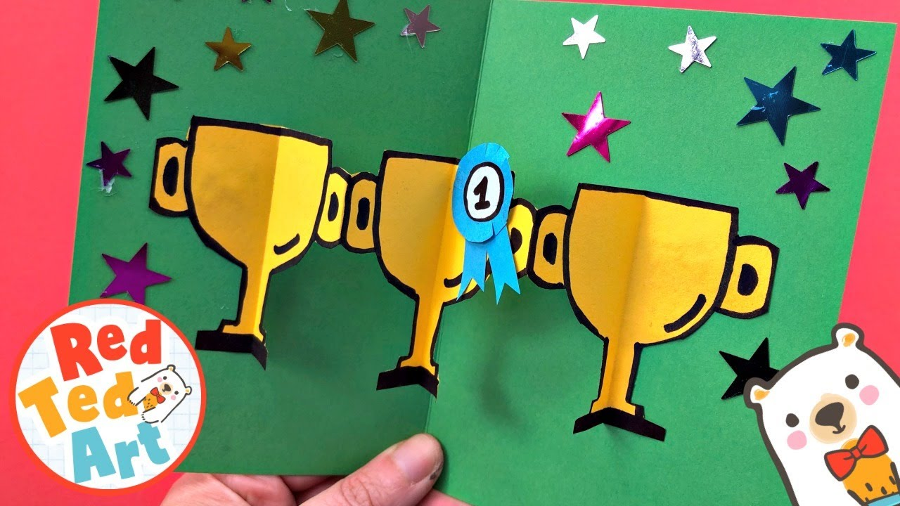 Easy Pop Up Trophy Card Diy For Dad How To Make A Pop Up Trophy Card For Father S Day