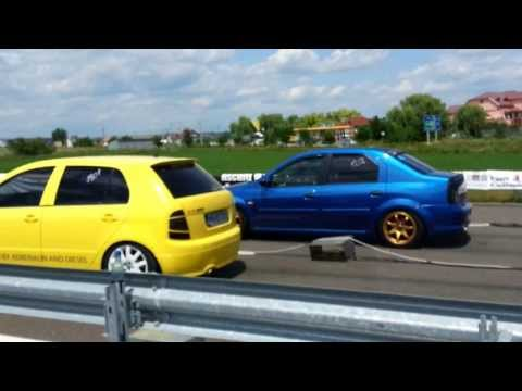 Transilvania Drag Race 5   Skoda Fabia vRS Vs Dacia Logan NZN