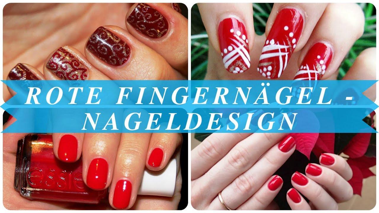 Rote fingernägel - nageldesign - YouTube