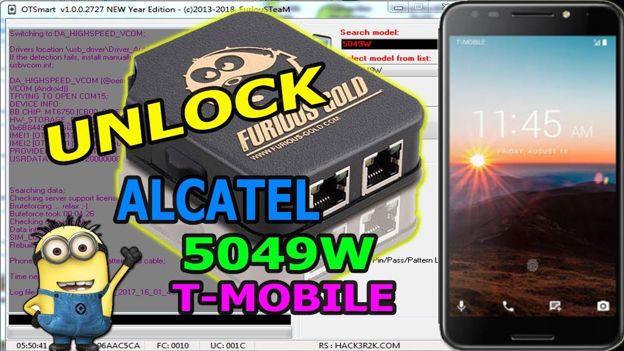 UNLOCK ALCATEL 5049W T-MOBILE PACK 6 MTK FURIOUS GOLD BOX