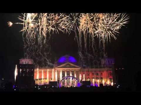 25 Years Reunification - Fireworks in front of the Reichstag in Berlin, 2015