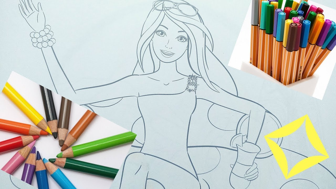 coloring book pages coloring barbie in swimming pool youtube