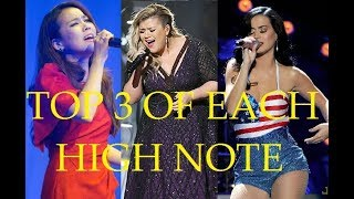TOP 3 of each HIGH NOTE - Female Singers (A4 - C6)
