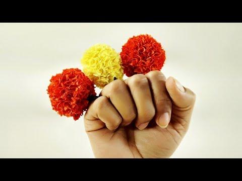 How to Make Marigold Flower | DIY Paper Flower | Crafts Junction