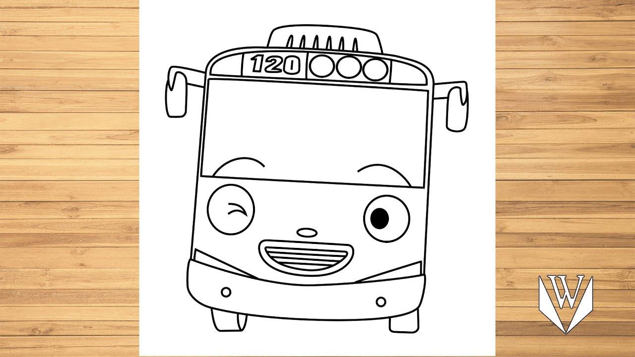 Wie zeichnet man Tayo Little Bus  Schritt für Schritt