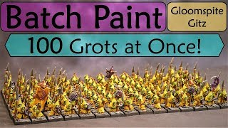 Gloomspite Gitz Batch Painting! Efficient Painting of 100 Moonclan Grots to Tabletop Quality!