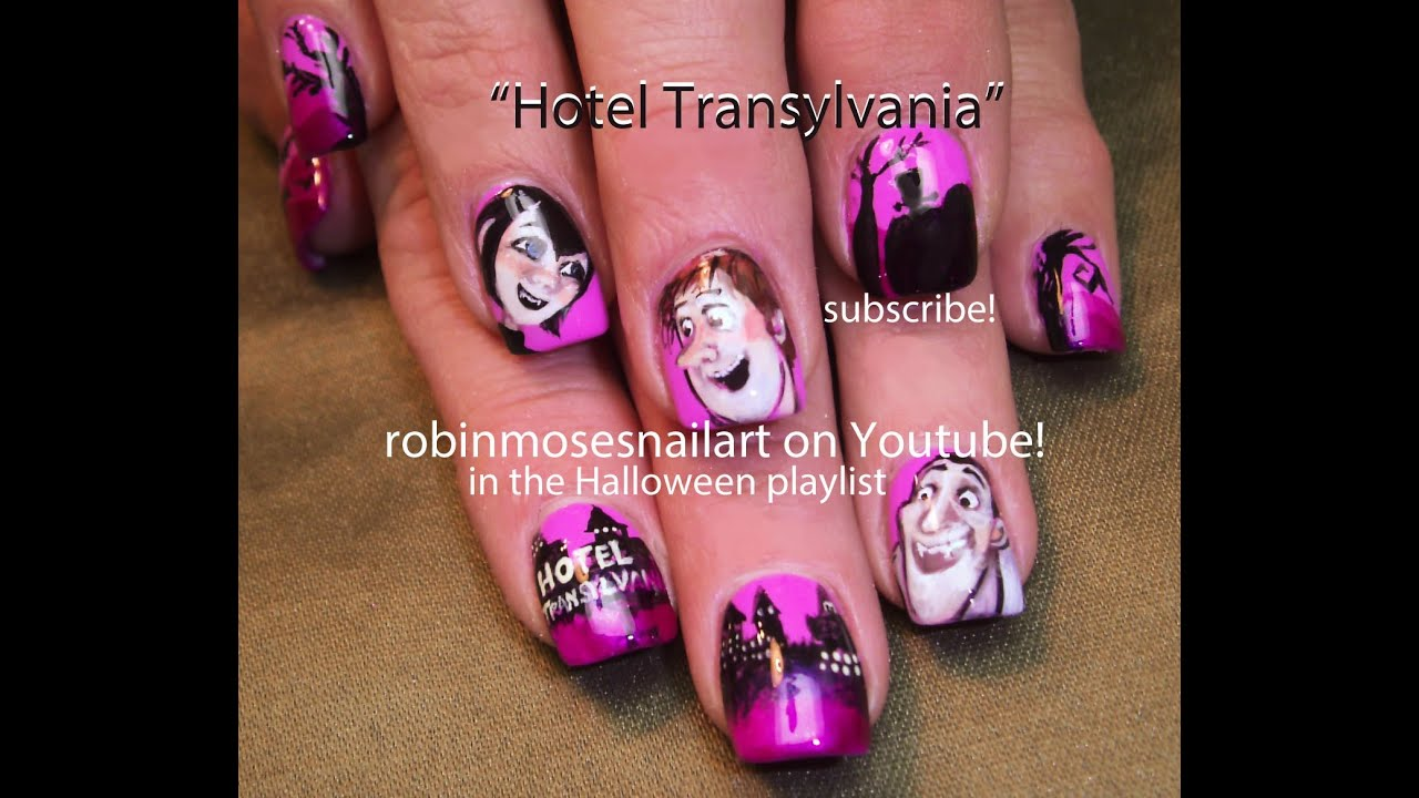 Nail Art Tutorial  Diy Halloween Nails  Hotel Transylvania Design   Youtube