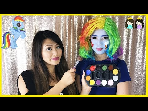 My Little Pony Rainbow Dash Halloween Makeup Tutorial Girl Cosplay Face Painting for Children