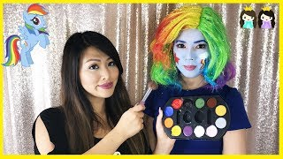 My Little Pony Rainbow Dash Halloween Makeup Tutorial with Princess ToysReview