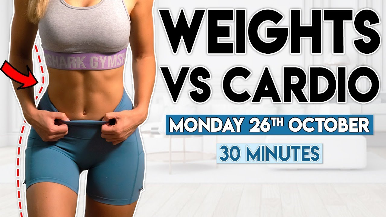WEIGHTS vs CARDIO (full body) | 30 minute Home Workout