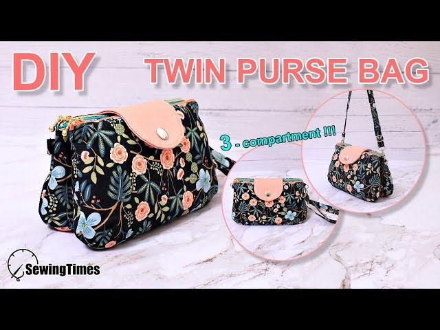 DIY TWIN PURSE BAG 가방만들기 | 3 Compartment clutch bag sewing tutorial [sewingtimes]