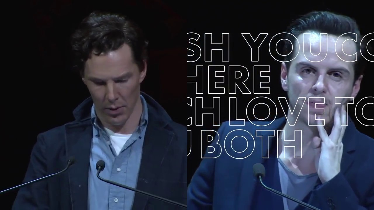 Benedict Cumberbatch and Andrew Scott shared a peck at the ...  |Andrew Scott And Benedict Cumberbatch In Pajamas