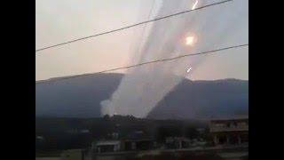 اكثر من مئة صاروخ يستهدف قرية القاهرة سهل الغاب ريف حماة الغربي