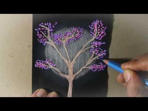 Dibujo de un rbol y la luna sobre papel negro videos mp3 - Papel para dibujar ...