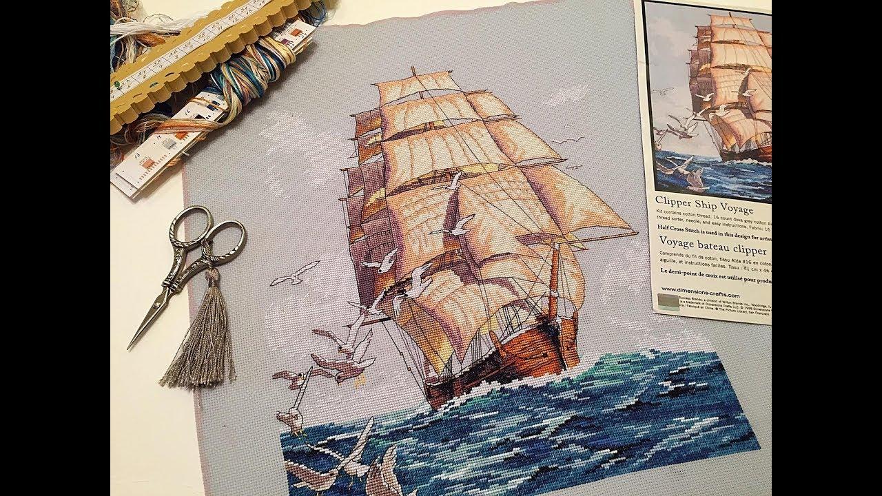 Дизайн парусника для вышивки