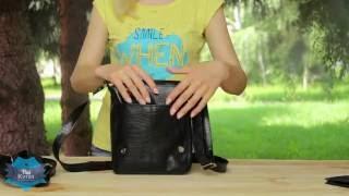 Мужская черная сумка-планшет с тиснением Кайман купить в Украине. Обзор