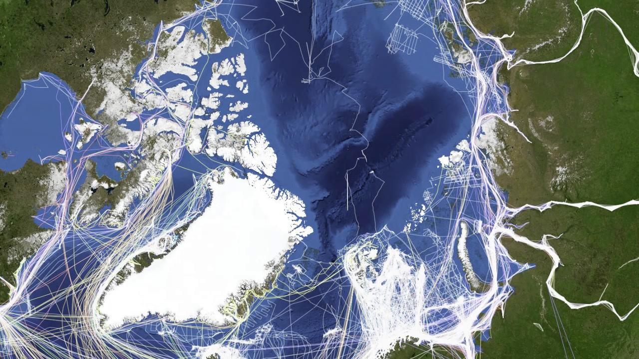Ship Traffic Map.Arctic Ship Traffic Data Youtube