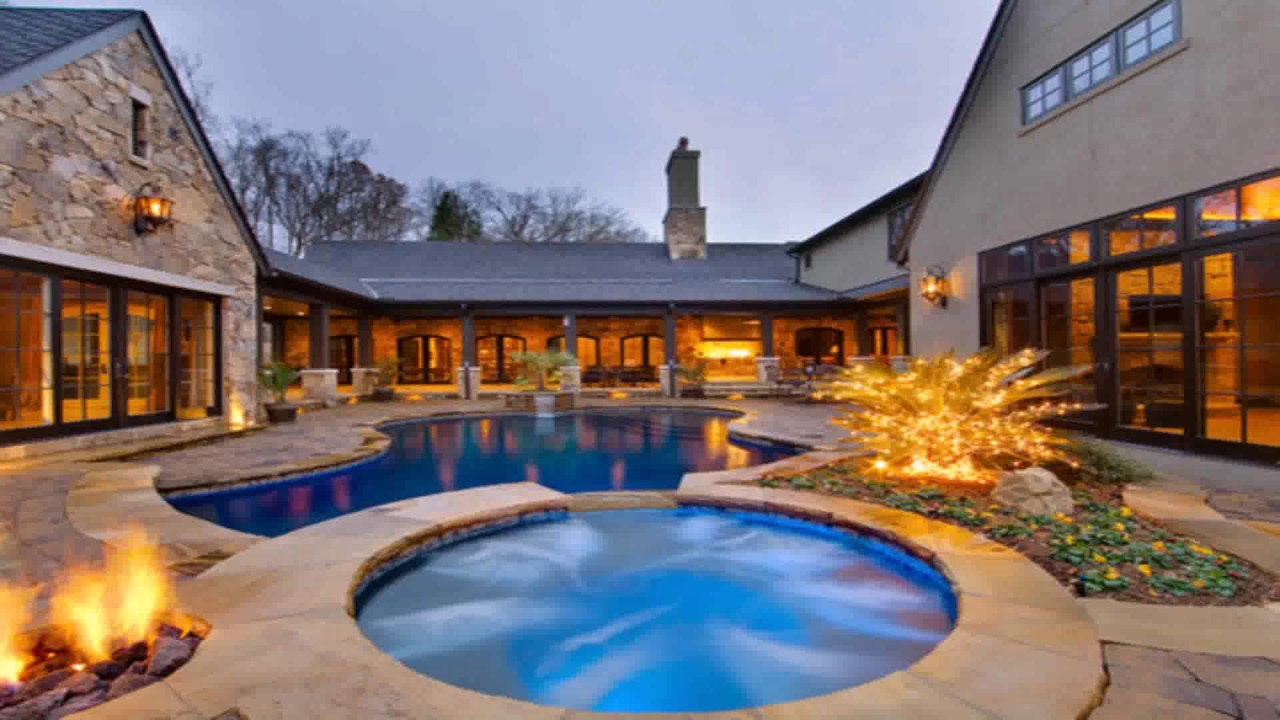 L Shaped House Plans With Courtyard Pool - YouTube
