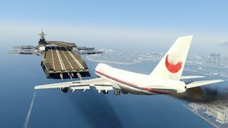 "Massive Air Plane ""Emergency Landing"" at helicarrier(MARVEL)  (GTA 5 Amazing and funny Moments)"