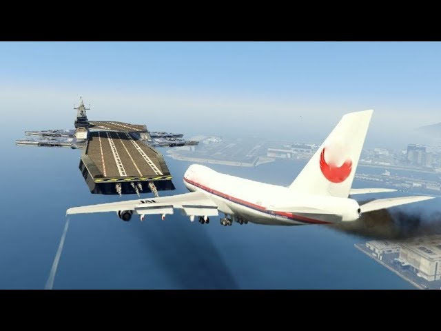 """Massive Air Plane """"Emergency Landing"""" at helicarrier  (GTA 5 Amazing and funny Moments)"""