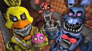 - Plushtrap vs Nightmare Freddy Bonnie Chica Foxy Fredbear Censored FNAF SFM
