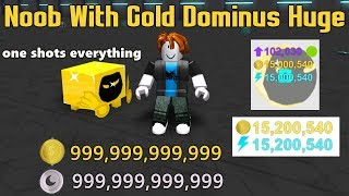 Noob With A Gold Dominus Huge! One Shots Everything! + 50k subs Giveaway Winners! - Pet Simulator