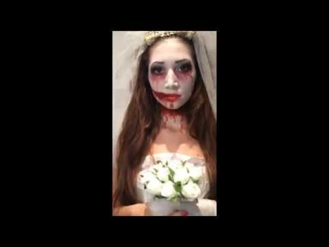 horror zombie braut make up tutorial karneval fasching kost m zombie bride halloween. Black Bedroom Furniture Sets. Home Design Ideas