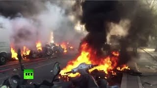 Fire, injuries & tear gas: Yellow Vest protesters clash with police around Bastille Place