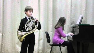 Danila Galouza, 9 years old, horn. Promenade, L. Gutin.