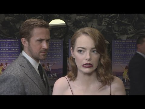 Thumbnail: La La Land gala: Ryan Gosling creeps up on Emma Stone!