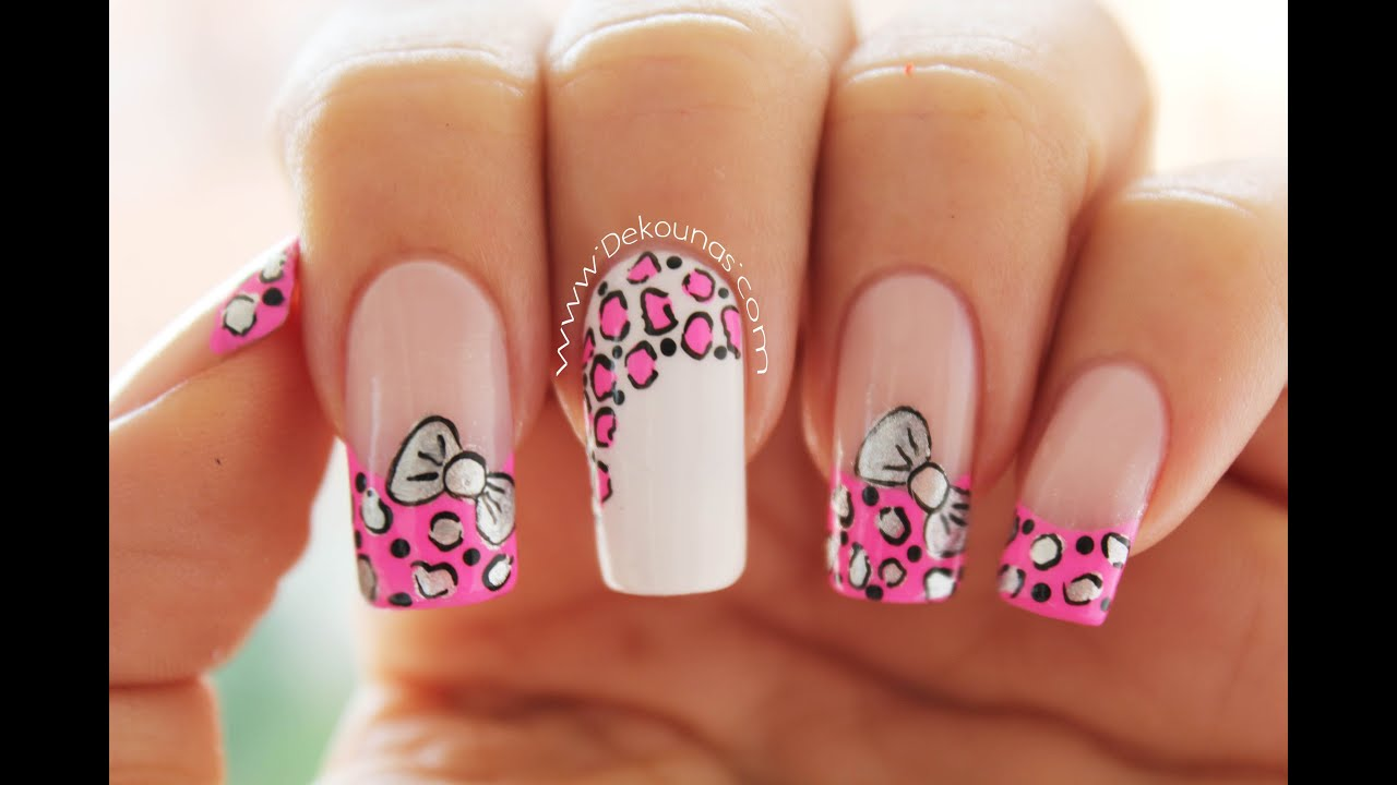 Decoración de uñas animal print y moño , animal print  bow nail art , YouTube