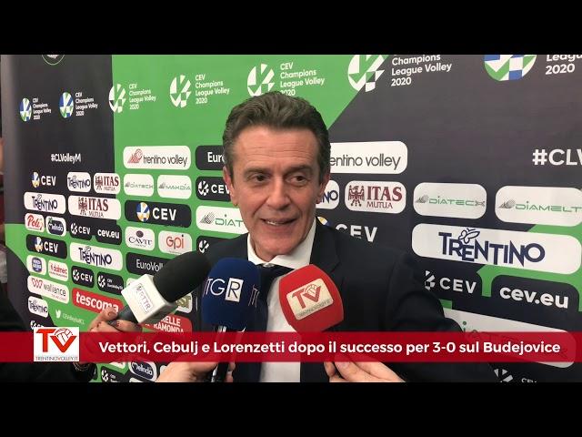 Vettori, Cebulj e Lorenzetti dopo il 3-0 sul Budejovice in Champions League
