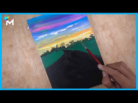 Arizona Sunset Road | Landscape Acrylic Painting on Canvas With Relaxing Music #13 | Mini Viral Art