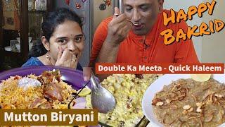 Mutton Biryani And Double Ka Meeta - Quick Haleem - Happy Bakrid