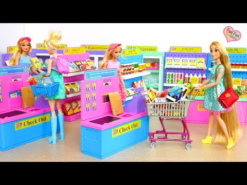I Love to Shop Supermarket Barbie Grocery Shopping Toko kelontong Barbie Puppe Supermarkt