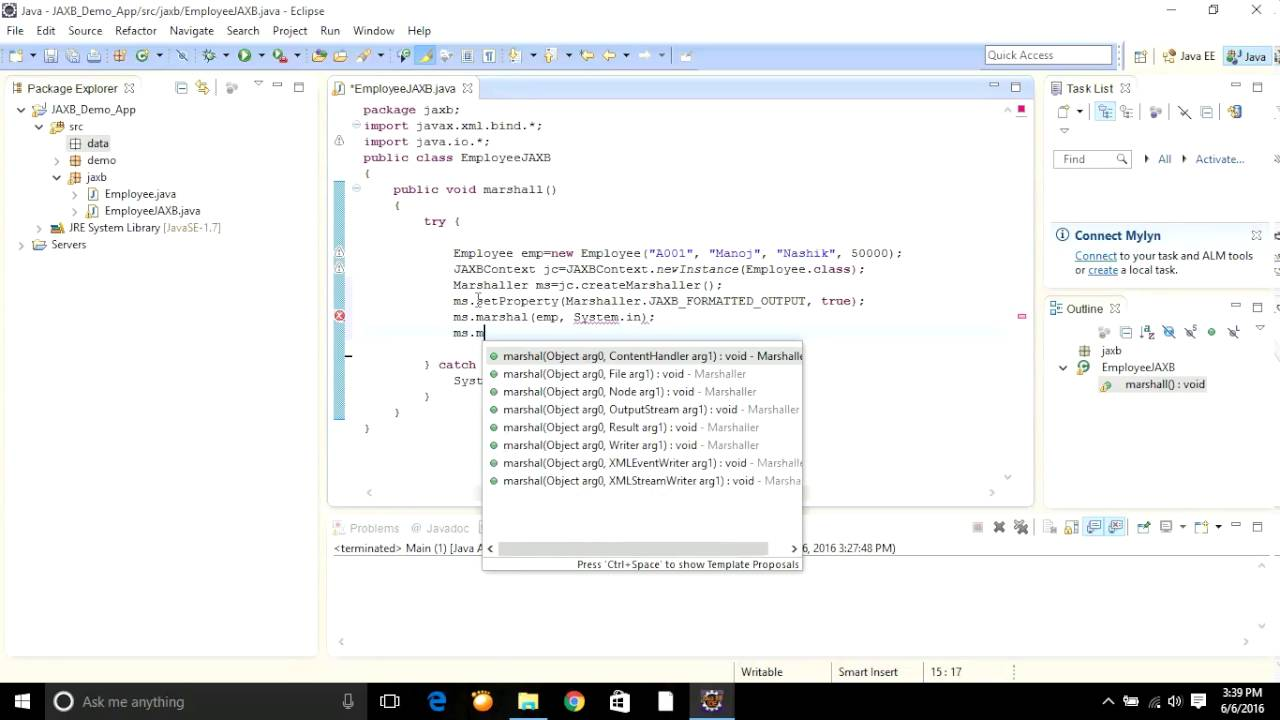 How to do Marshalling & Unmarshalling of java object (JAXB) in Eclipse?