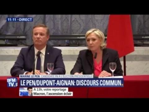 """Marine Le Pen: """"Si je suis élue Présidente, je nommerai Nicolas Dupont-Aignan Premier ministre"""""""