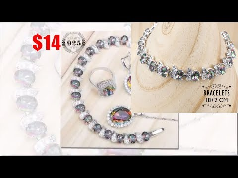 Jewelry Sets Women Earrings Rings Mystic Rainbow Zircon 925 Silver Costume Bridal