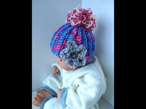 How to CROCHET a BABY HAT, pattern, you tube video tutorial,  ribbing stitch, beginner level,