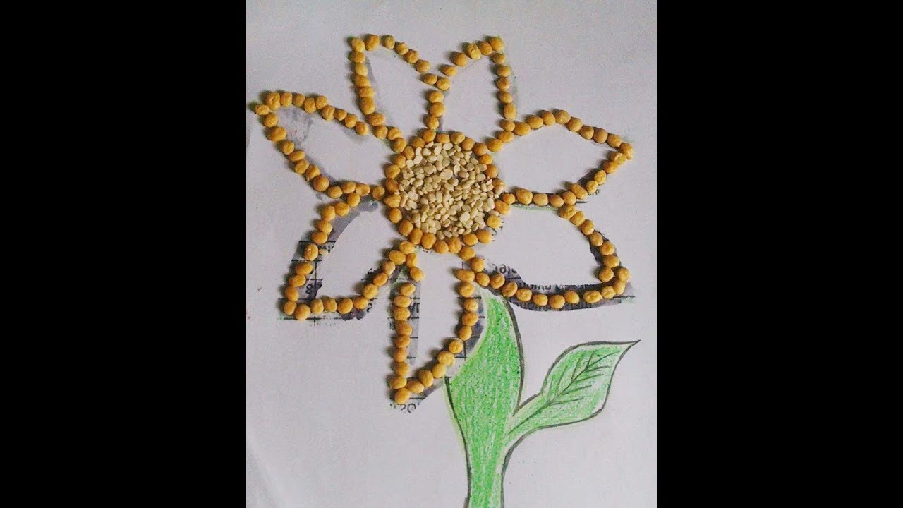 How To Make Sunflower With Pulses Daal Pulse Activity For Children