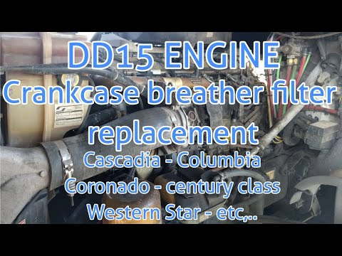 Freightliner Cascadia DD13 DD15 engine crankcase filter removal replacement  oil separator