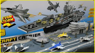 Navy Aircraft Carrier Unboxing and Pretend Play Battle VS Monsters