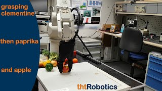 Adaptive Robotic Gripper. Grasping mixed clementine, paprika and apples