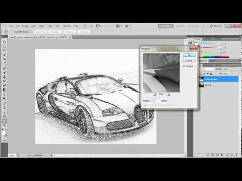 how to transform PHOTOS into realistic pencil drawing ! - photoshop CS 5 tutorial