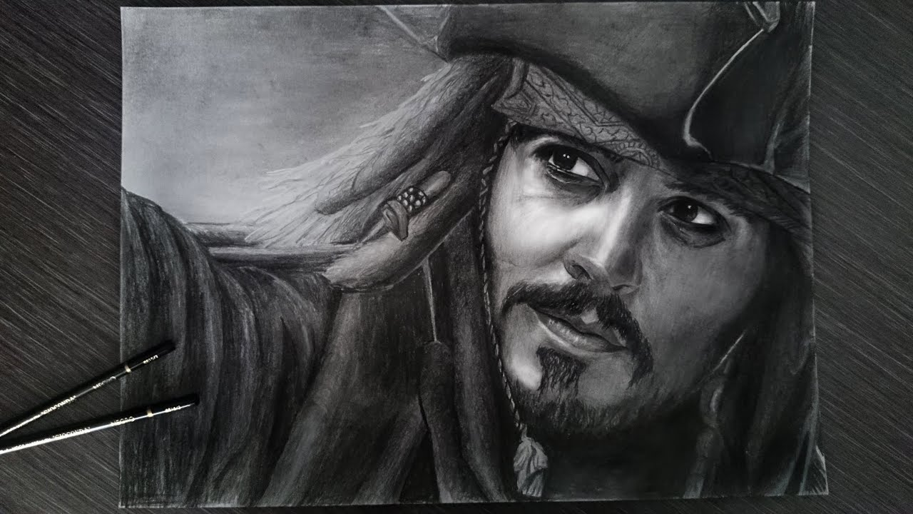 Drawing Captain Jack Sparrow Johnny Depp - YouTube