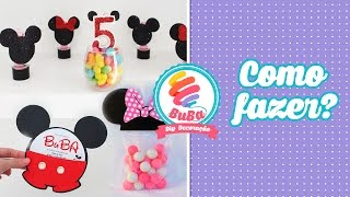 Passo a passo de Festa Simples Mickey e Minnie - Lembrancinha, convite, vela e personalizados.