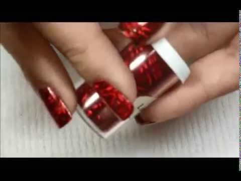 Facil Diseno De Unas Rojas Con Aluminio Y Estampado Youtube