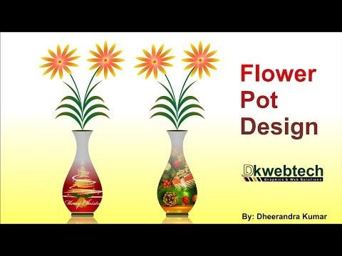 3D Flower Pot Designing Idea CorelDraw in Hindi thumbnail